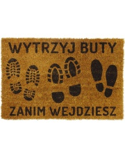 Wycieraczka z napisem wytrzyj buty zanim wejdziesz